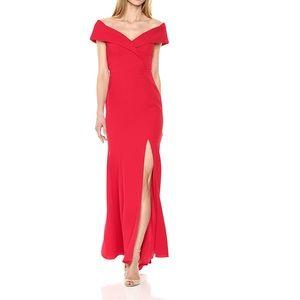 Xscape Women's Off The Sholder Crepe Dress Red